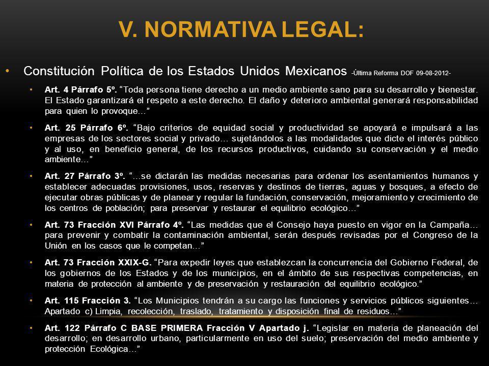 V. NORMATIVA LEGAL: Constitución Política de los Estados Unidos Mexicanos -Última Reforma DOF 09-08-2012- Art. 4 Párrafo 5º. Toda persona tiene derech