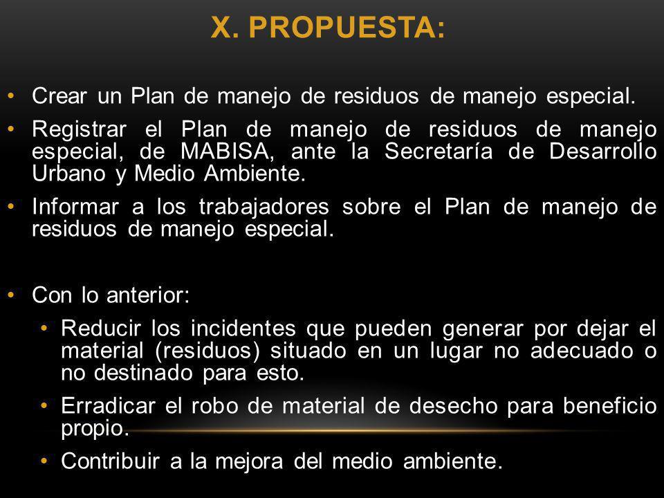 X. PROPUESTA: Crear un Plan de manejo de residuos de manejo especial. Registrar el Plan de manejo de residuos de manejo especial, de MABISA, ante la S