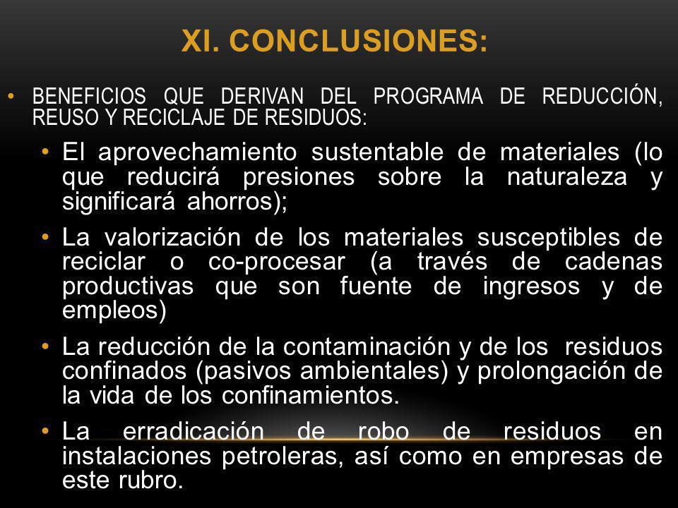 XI. CONCLUSIONES: BENEFICIOS QUE DERIVAN DEL PROGRAMA DE REDUCCIÓN, REUSO Y RECICLAJE DE RESIDUOS: El aprovechamiento sustentable de materiales (lo qu