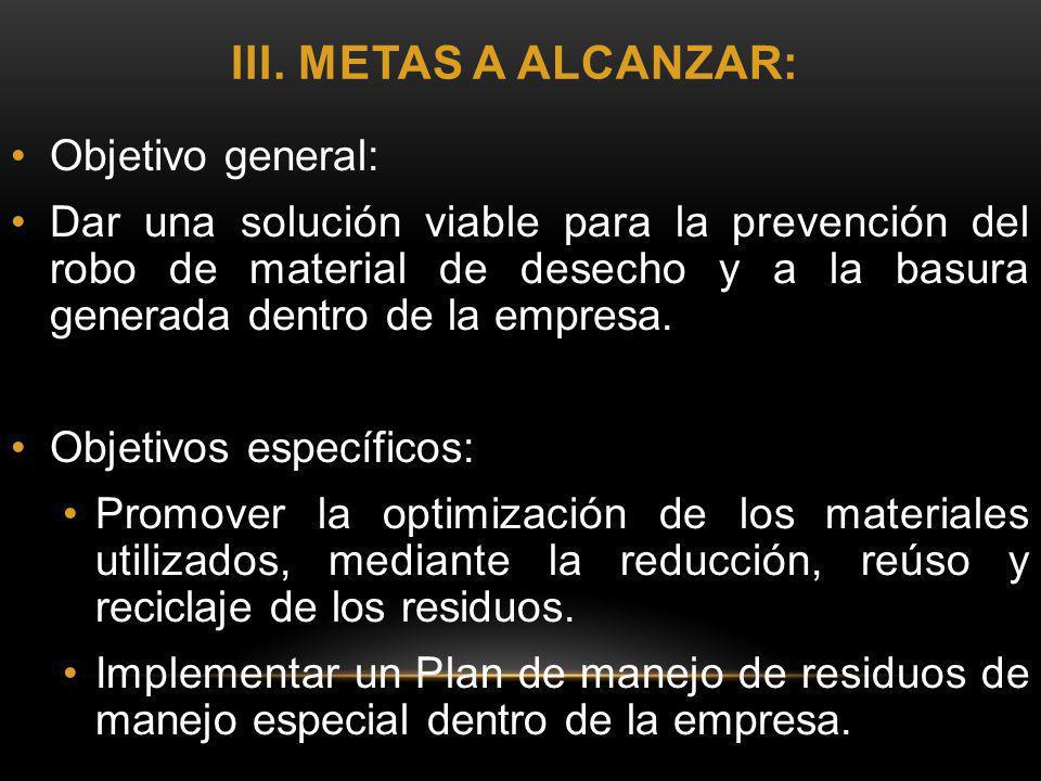 III. METAS A ALCANZAR: Objetivo general: Dar una solución viable para la prevención del robo de material de desecho y a la basura generada dentro de l