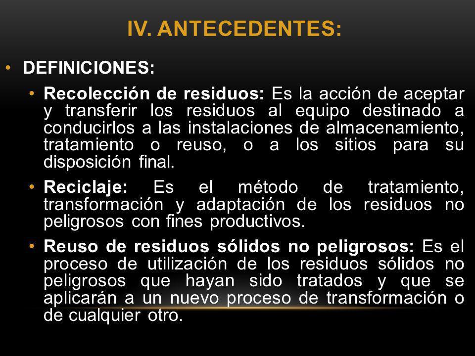 IV. ANTECEDENTES: DEFINICIONES: Recolección de residuos: Es la acción de aceptar y transferir los residuos al equipo destinado a conducirlos a las ins