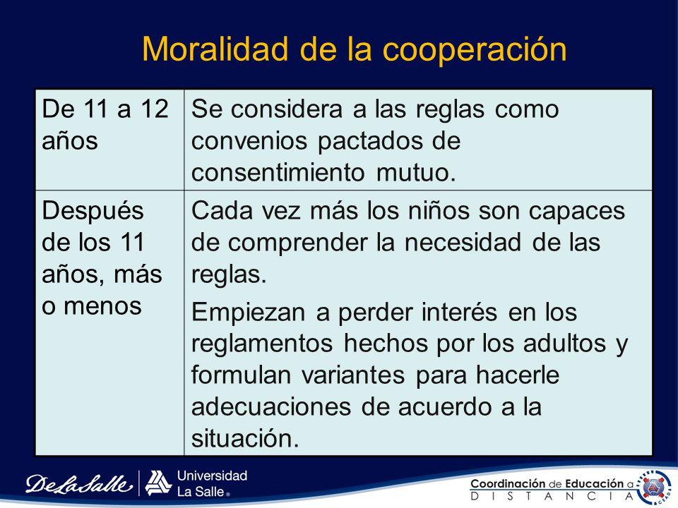 Moralidad de la restricción Niños de 4 a 7 años (que comienzan a aprender el juego) Parecen considerar a las reglas como ejemplos interesantes de la c