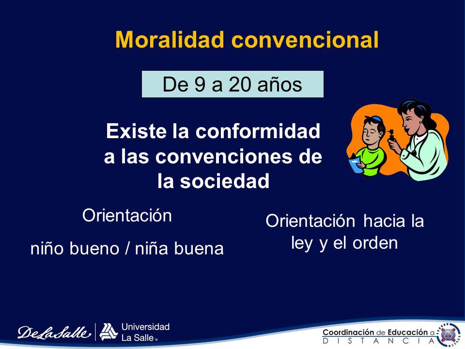 Moralidad preconvencional hasta los 9 años Los niños no comprenden las reglas de la sociedad Orientación castigo/obediencia Orientación instrumental r