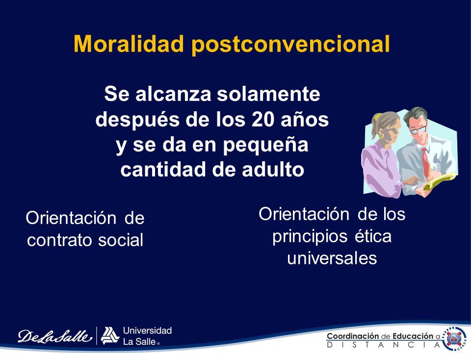 Moralidad convencional De 9 a 20 años Existe la conformidad a las convenciones de la sociedad Orientación niño bueno / niña buena Orientación hacia la