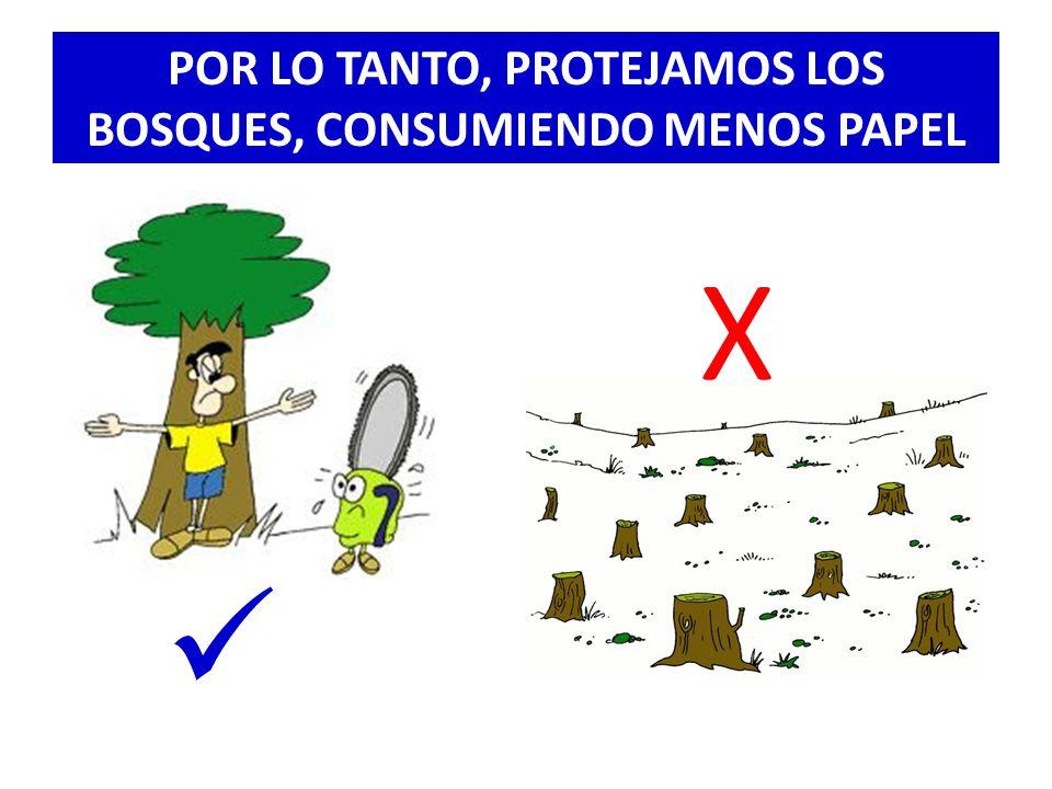 POR LO TANTO, PROTEJAMOS LOS BOSQUES, CONSUMIENDO MENOS PAPEL X