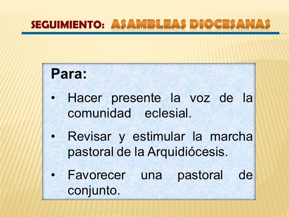 Para: Hacer presente la voz de la comunidad eclesial. Revisar y estimular la marcha pastoral de la Arquidiócesis. Favorecer una pastoral de conjunto.