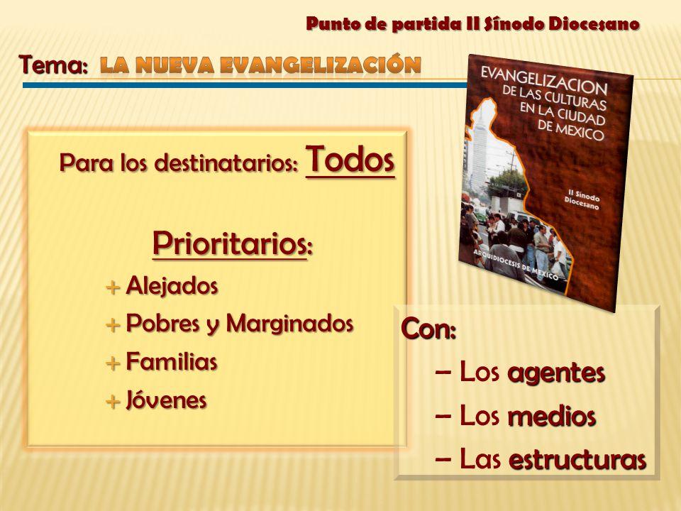 Para los destinatarios: Todos Prioritarios : Prioritarios : Alejados Alejados Pobres y Marginados Pobres y Marginados Familias Familias Jóvenes Jóvene
