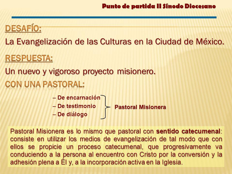 – De encarnación – De testimonio – De diálogo Pastoral Misionera es lo mismo que pastoral con sentido catecumenal: consiste en utilizar los medios de