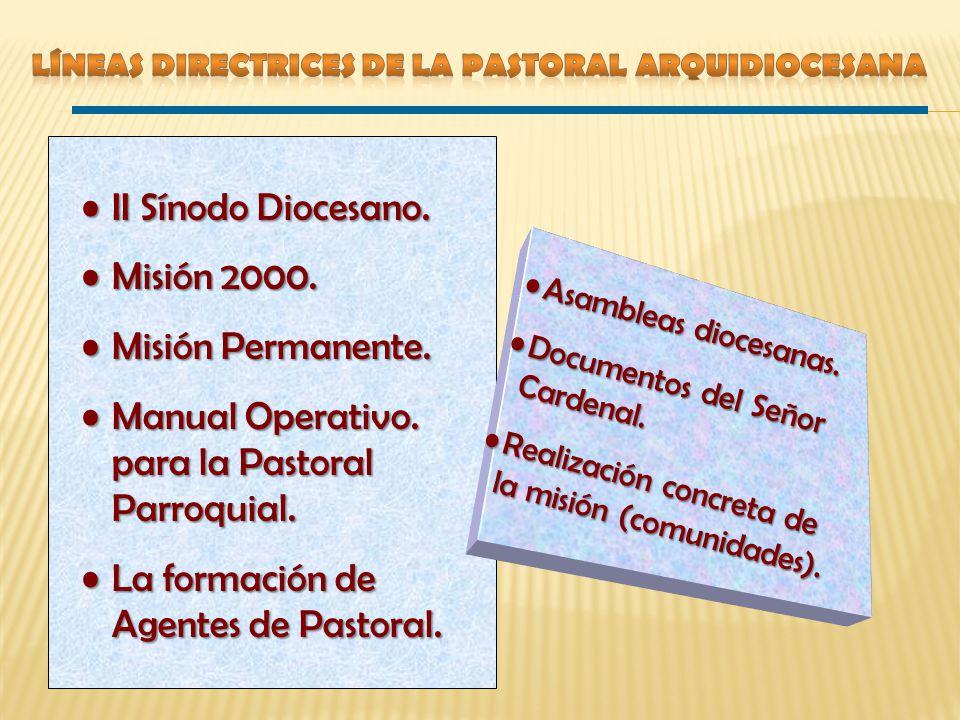 5ª Asamblea Septiembre, 1999 6ª Asamblea Diocesana Septiembre, 2000 Orientar y estimular la Pastoral hacia la continuidad misionera LA MISIÓN PERMANENTE EN NUESTRA IGLESIA LOCAL 7ª Asamblea Diocesana Septiembre, 2001 Perseverar hasta convertirnos en Iglesia Misionera CONSOLIDAR EL PROCESO MISIONERO 8ª Asamblea Diocesana Septiembre, 2002 Vocación y Misión de la Parroquia en la Ciudad de México LA PARROQUIA, UNA COMUNIDAD PARA TODOS Proceso Misionero: 1er.