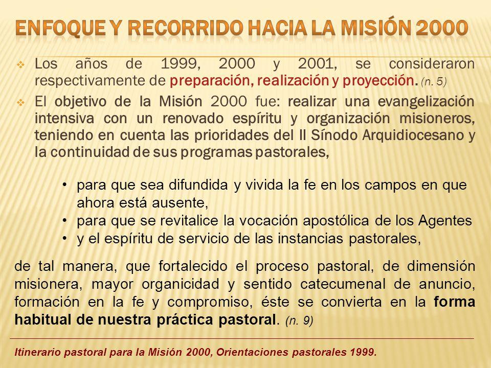Los años de 1999, 2000 y 2001, se consideraron respectivamente de preparación, realización y proyección. (n. 5) El objetivo de la Misión 2000 fue: rea