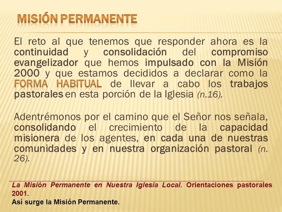 Kerigma Catequesis Formación y Compromiso Apostólico Ministerios Reiniciación Cristiana MISIÓN 2000 (Momento Privilegiado) MISION PERMANENTE Centrada en El Proceso Evangelizador con sentido Misionero.
