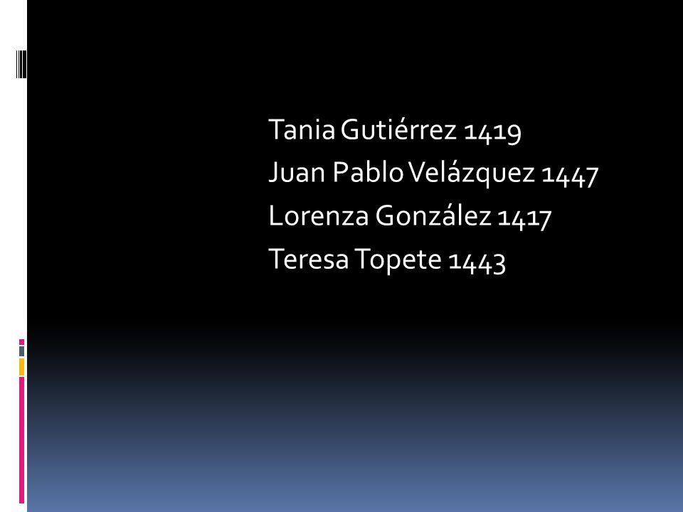 Tania Gutiérrez 1419 Juan Pablo Velázquez 1447 Lorenza González 1417 Teresa Topete 1443