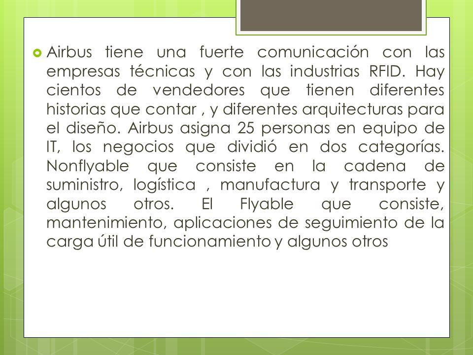 Airbus tiene una fuerte comunicación con las empresas técnicas y con las industrias RFID.