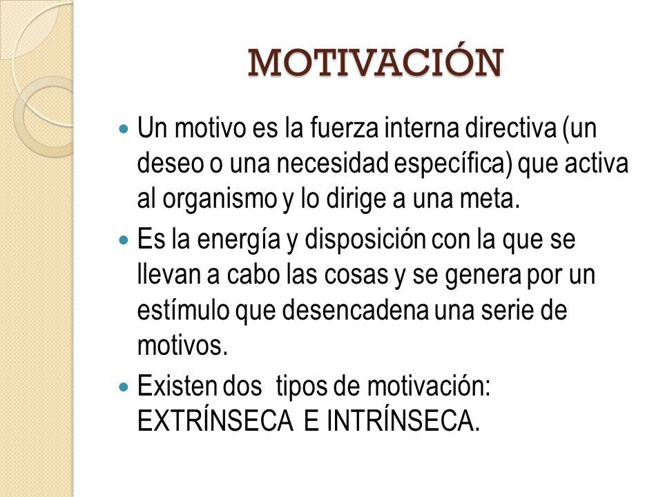 MOTIVACIÓN Un motivo es la fuerza interna directiva (un deseo o una necesidad específica) que activa al organismo y lo dirige a una meta. Es la energí