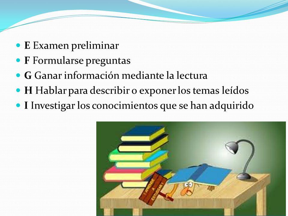 E Examen preliminar F Formularse preguntas G Ganar información mediante la lectura H Hablar para describir o exponer los temas leídos I Investigar los