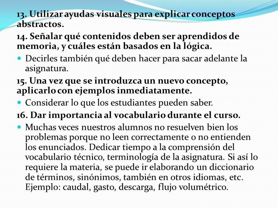 13. Utilizar ayudas visuales para explicar conceptos abstractos. 14. Señalar qué contenidos deben ser aprendidos de memoria, y cuáles están basados en