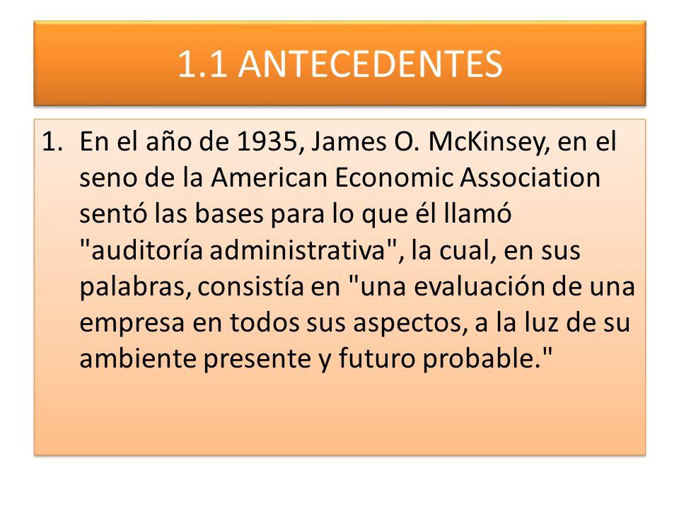 1.1 ANTECEDENTES 1.En el año de 1935, James O. McKinsey, en el seno de la American Economic Association sentó las bases para lo que él llamó