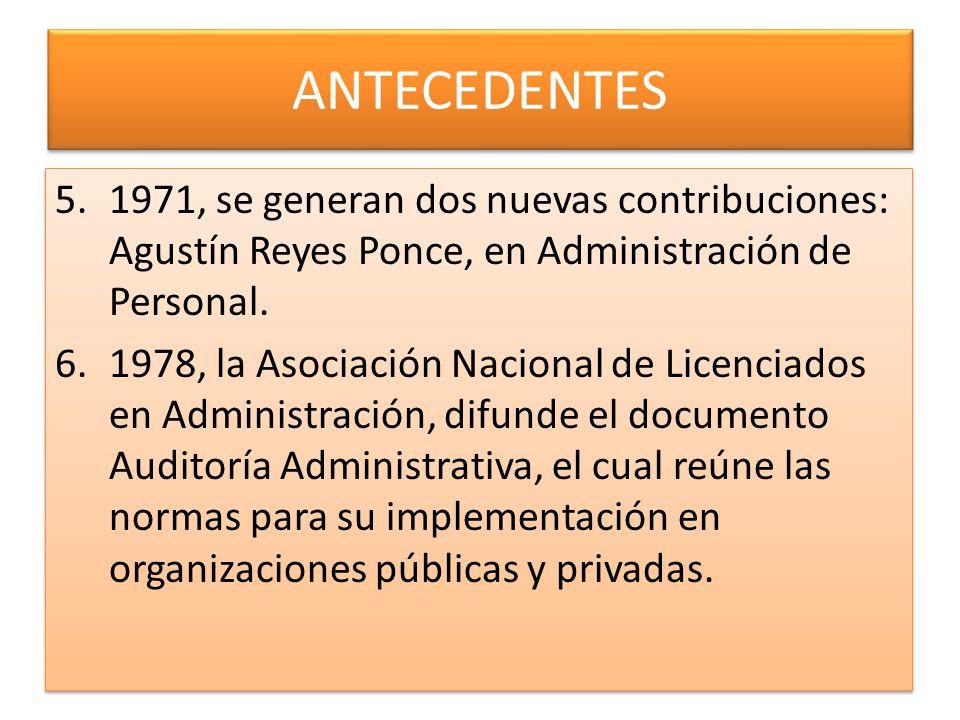 ANTECEDENTES 5.1971, se generan dos nuevas contribuciones: Agustín Reyes Ponce, en Administración de Personal. 6.1978, la Asociación Nacional de Licen