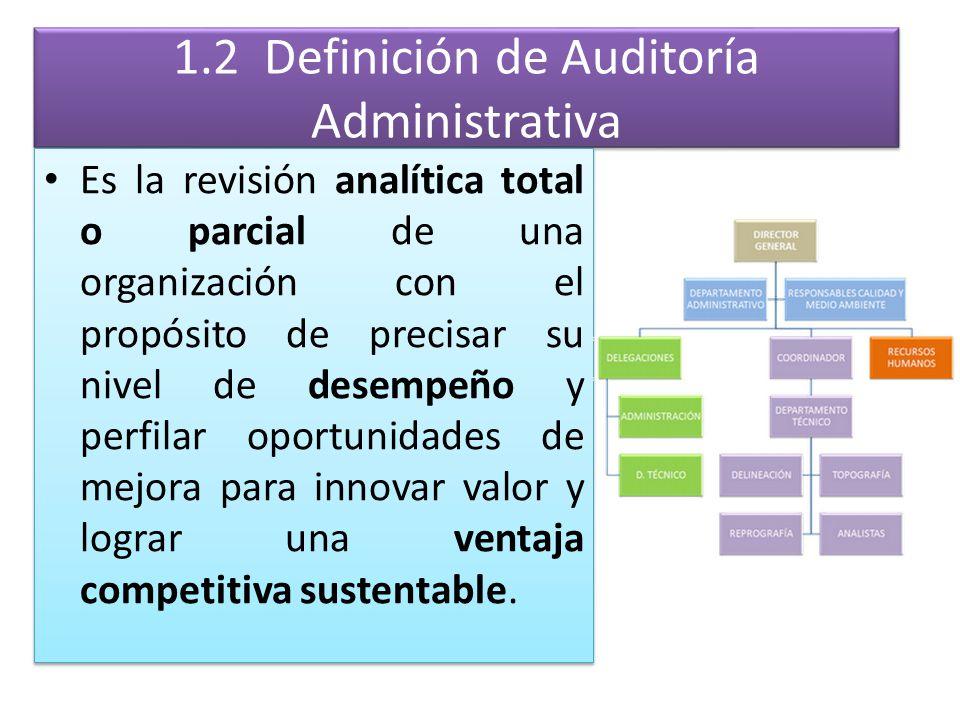 1.2 Definición de Auditoría Administrativa Es la revisión analítica total o parcial de una organización con el propósito de precisar su nivel de desem