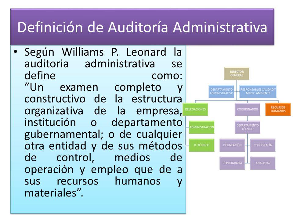 Definición de Auditoría Administrativa Según Williams P. Leonard la auditoria administrativa se define como: Un examen completo y constructivo de la e