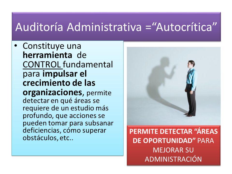 Auditoría Administrativa =Autocrítica Constituye una herramienta de CONTROL fundamental para impulsar el crecimiento de las organizaciones, permite de