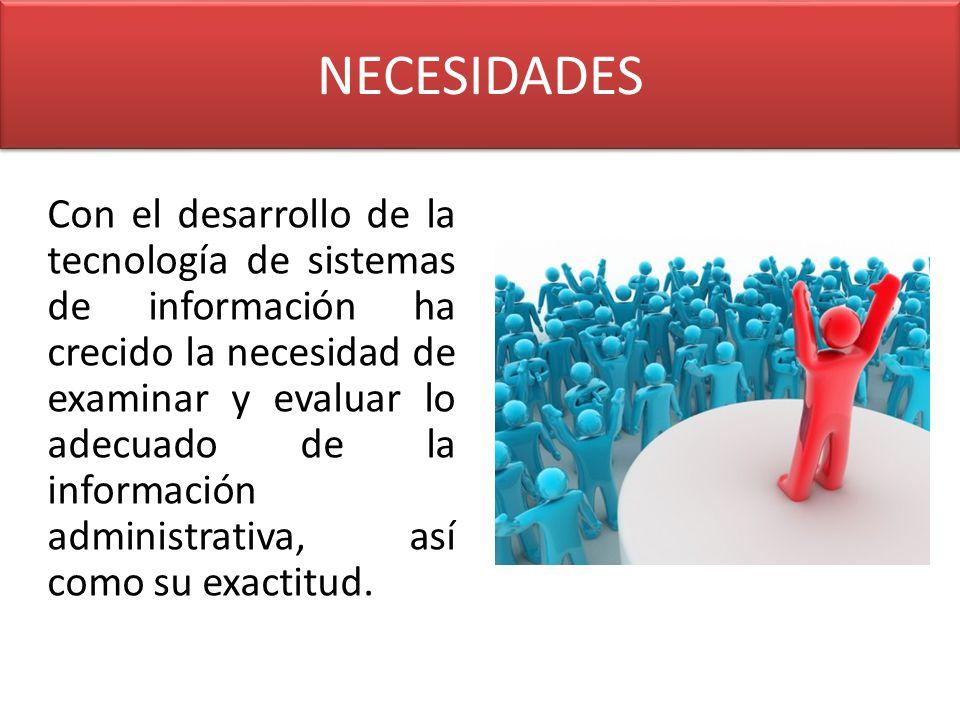 NECESIDADES Con el desarrollo de la tecnología de sistemas de información ha crecido la necesidad de examinar y evaluar lo adecuado de la información