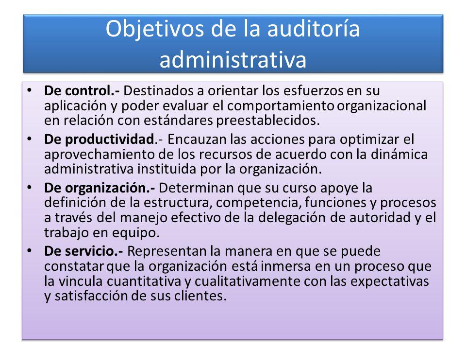 Objetivos de la auditoría administrativa De control.- Destinados a orientar los esfuerzos en su aplicación y poder evaluar el comportamiento organizac