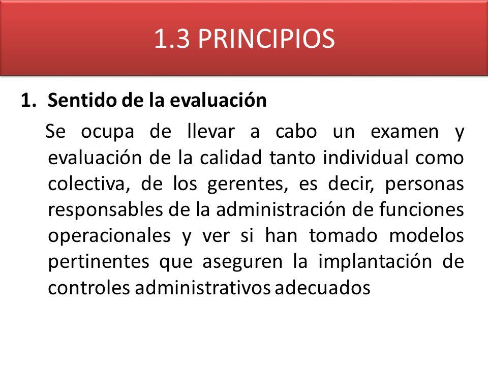 1.3 PRINCIPIOS 1.Sentido de la evaluación Se ocupa de llevar a cabo un examen y evaluación de la calidad tanto individual como colectiva, de los geren