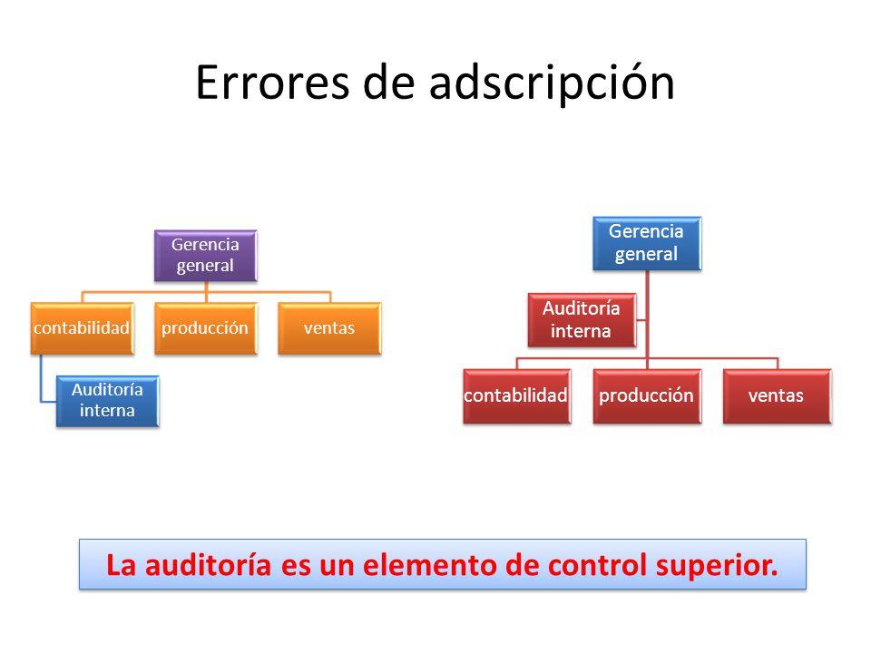 Errores de adscripción Gerencia general contabilidad Auditoría interna producciónventas Gerencia general contabilidadproducciónventas Auditoría intern