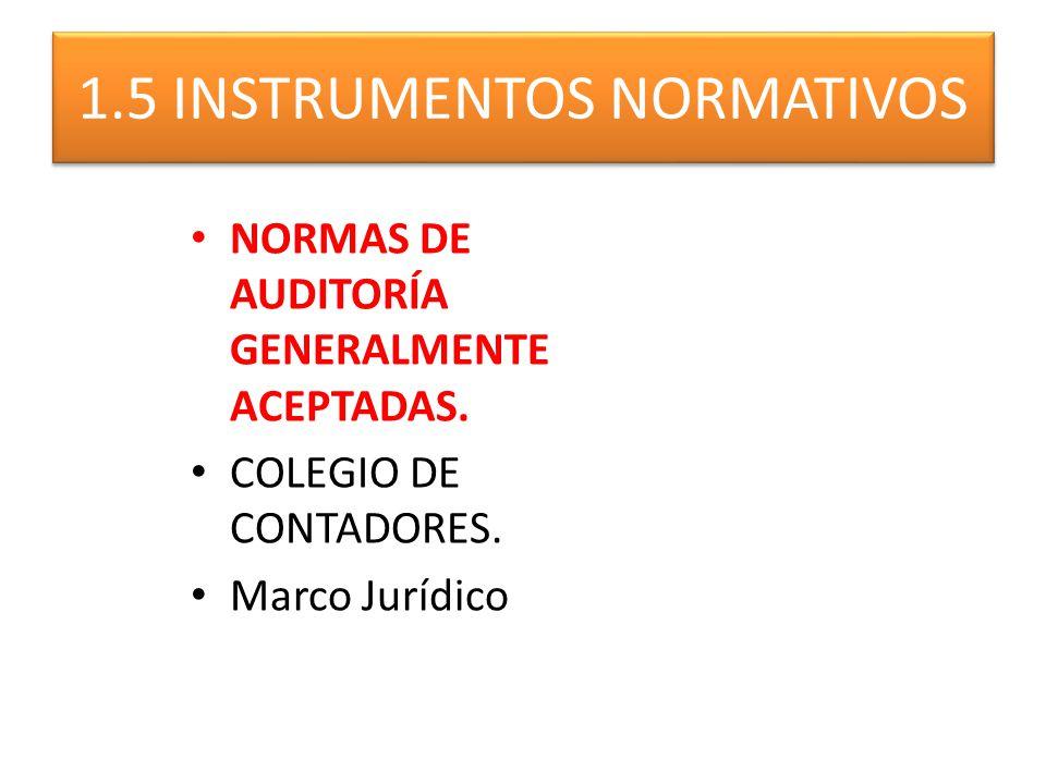 NORMAS DE AUDITORÍA GENERALMENTE ACEPTADAS. COLEGIO DE CONTADORES. Marco Jurídico 1.5 INSTRUMENTOS NORMATIVOS