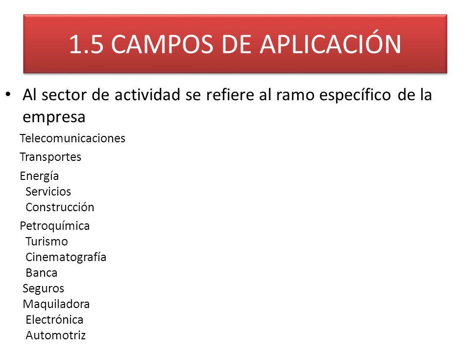 1.5 CAMPOS DE APLICACIÓN Al sector de actividad se refiere al ramo específico de la empresa Telecomunicaciones Transportes Energía Servicios Construcc