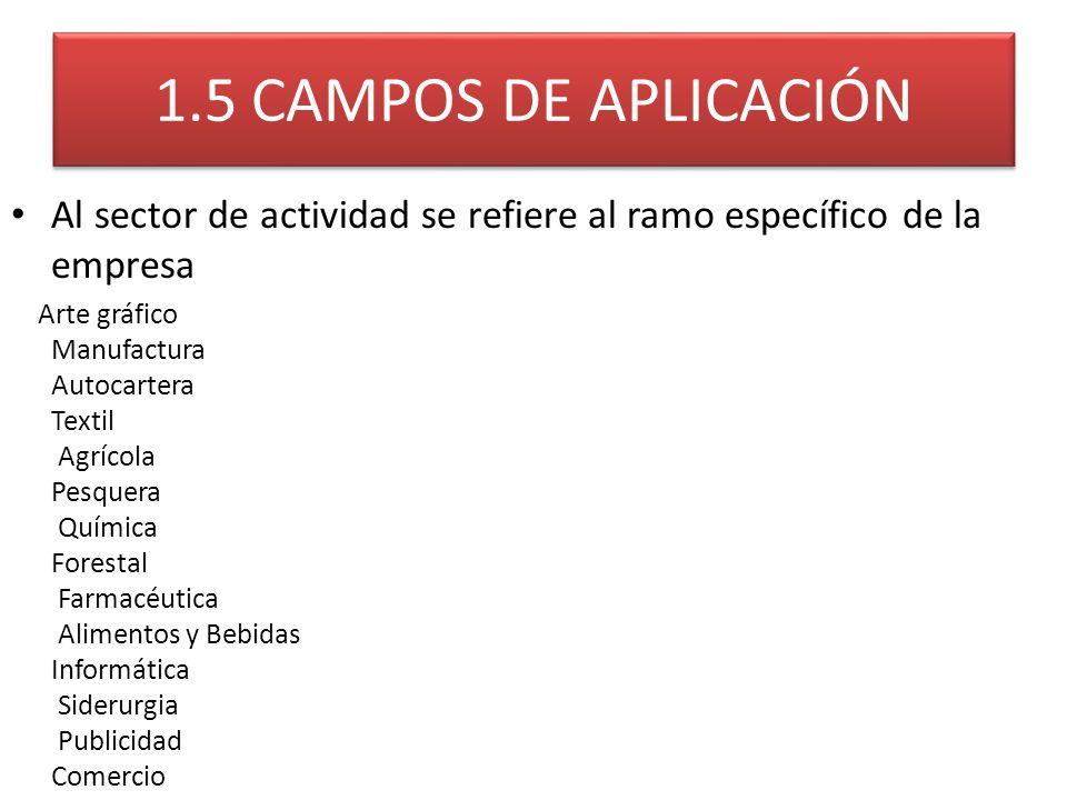 1.5 CAMPOS DE APLICACIÓN Al sector de actividad se refiere al ramo específico de la empresa Arte gráfico Manufactura Autocartera Textil Agrícola Pesqu