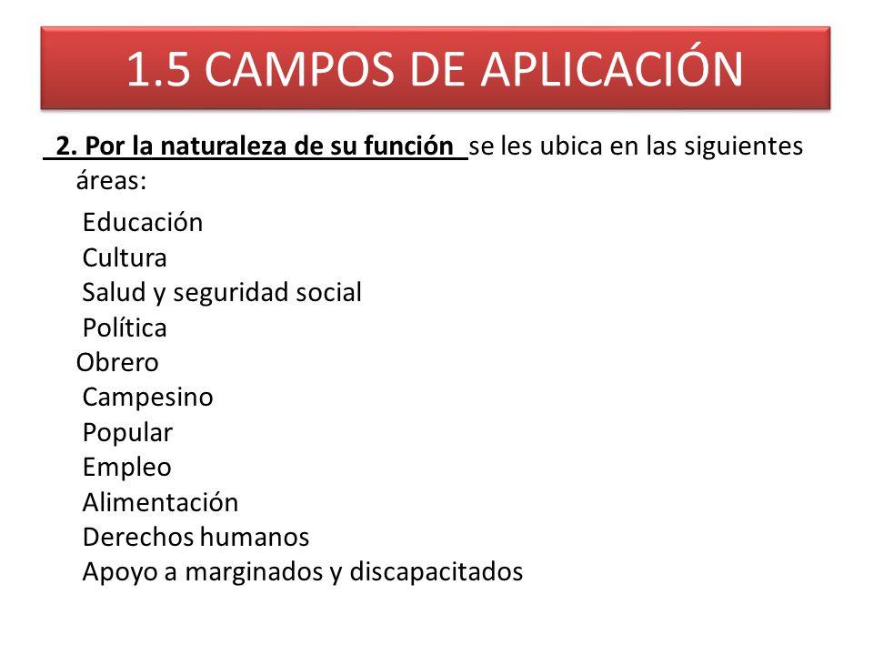 1.5 CAMPOS DE APLICACIÓN 2. Por la naturaleza de su función se les ubica en las siguientes áreas: Educación Cultura Salud y seguridad social Política