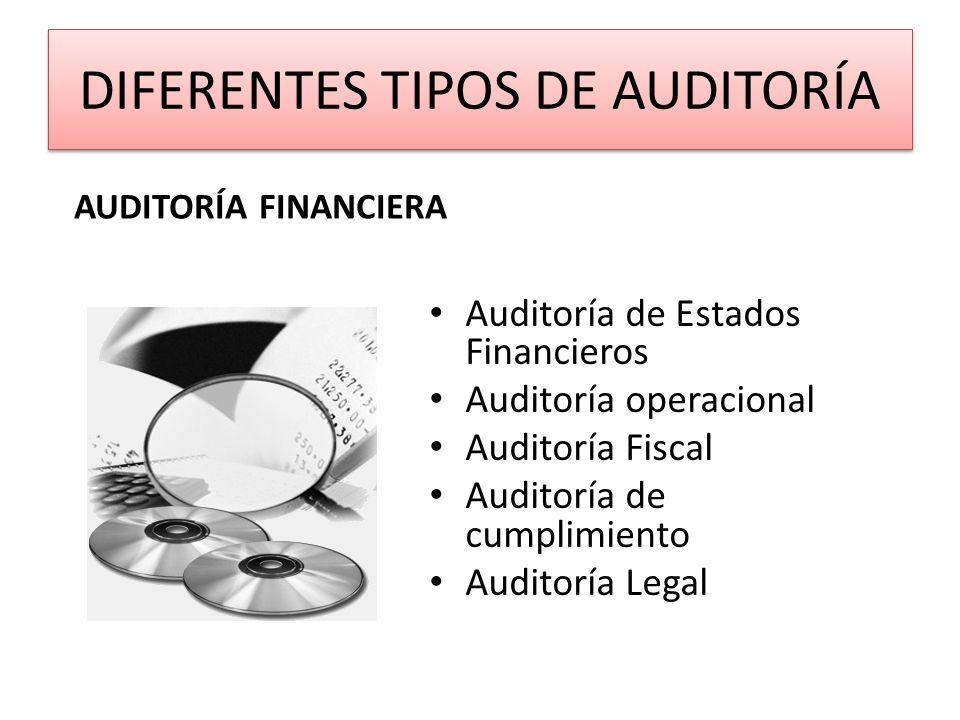 DIFERENTES TIPOS DE AUDITORÍA Auditoría de Estados Financieros Auditoría operacional Auditoría Fiscal Auditoría de cumplimiento Auditoría Legal AUDITO