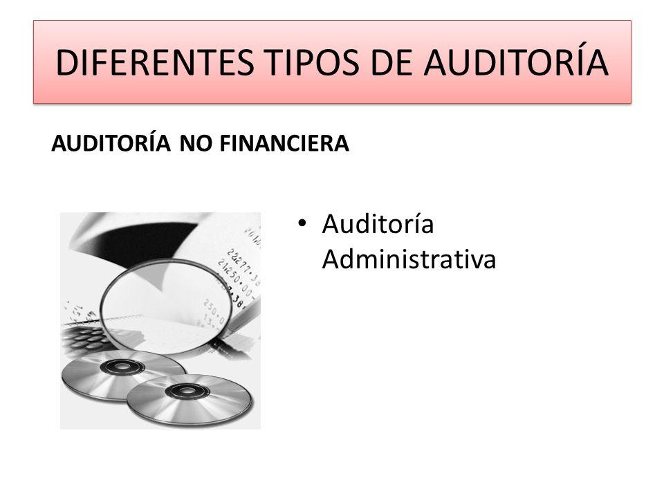 DIFERENTES TIPOS DE AUDITORÍA Auditoría Administrativa AUDITORÍA NO FINANCIERA