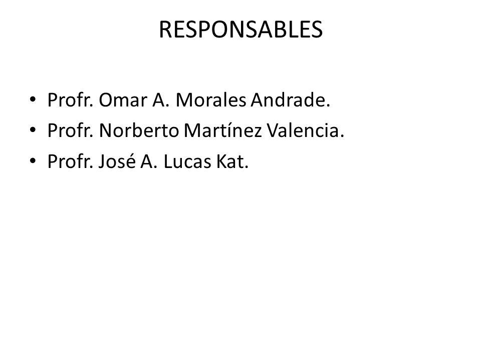 RESPONSABLES Profr. Omar A. Morales Andrade. Profr. Norberto Martínez Valencia. Profr. José A. Lucas Kat.