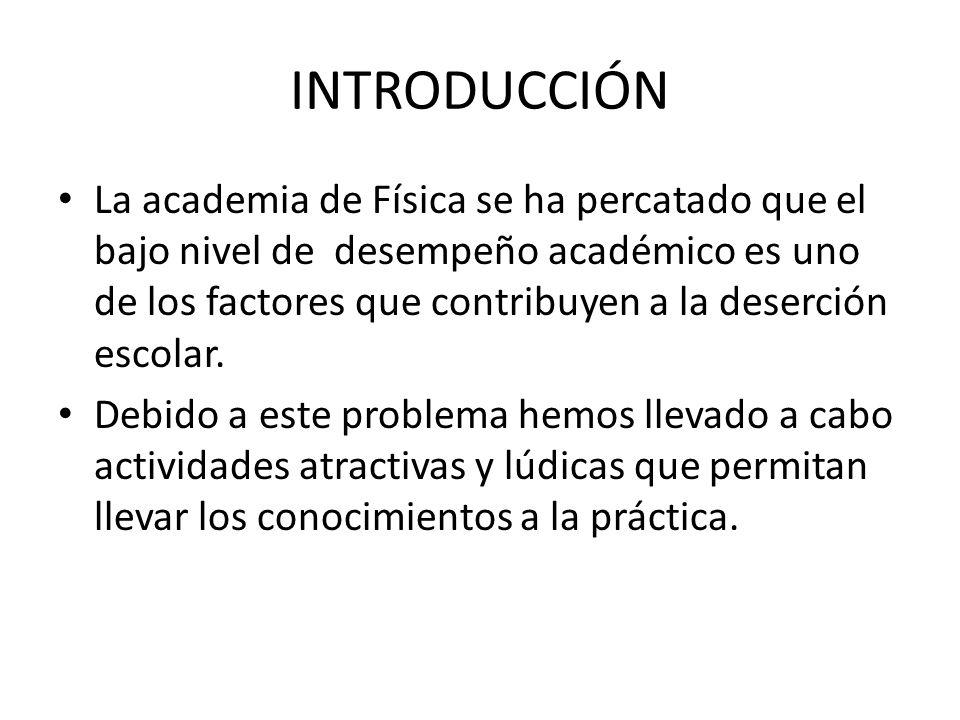 INTRODUCCIÓN La academia de Física se ha percatado que el bajo nivel de desempeño académico es uno de los factores que contribuyen a la deserción esco