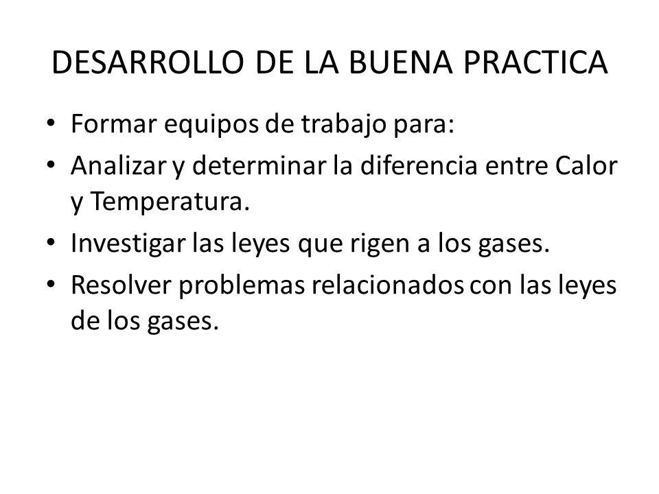 DESARROLLO DE LA BUENA PRACTICA Elaborar por equipos Globos de Cantoya, para observar el comportamiento del gas al incrementarse su temperatura.