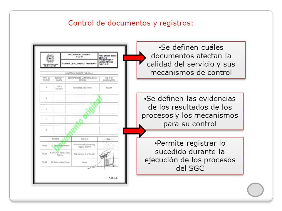 Control de documentos y registros: Se definen cuáles documentos afectan la calidad del servicio y sus mecanismos de control Se definen las evidencias de los resultados de los procesos y los mecanismos para su control Permite registrar lo sucedido durante la ejecución de los procesos del SGC