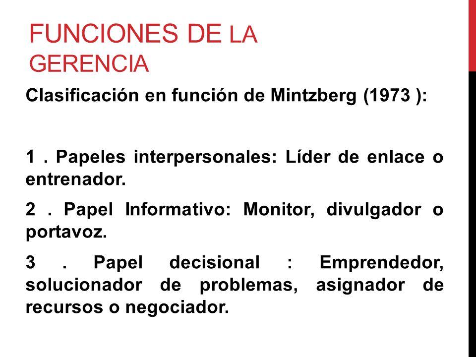 FUNCIONES DE LA GERENCIA Clasificación en función de Mintzberg (1973 ): 1. Papeles interpersonales: Líder de enlace o entrenador. 2. Papel Informativo