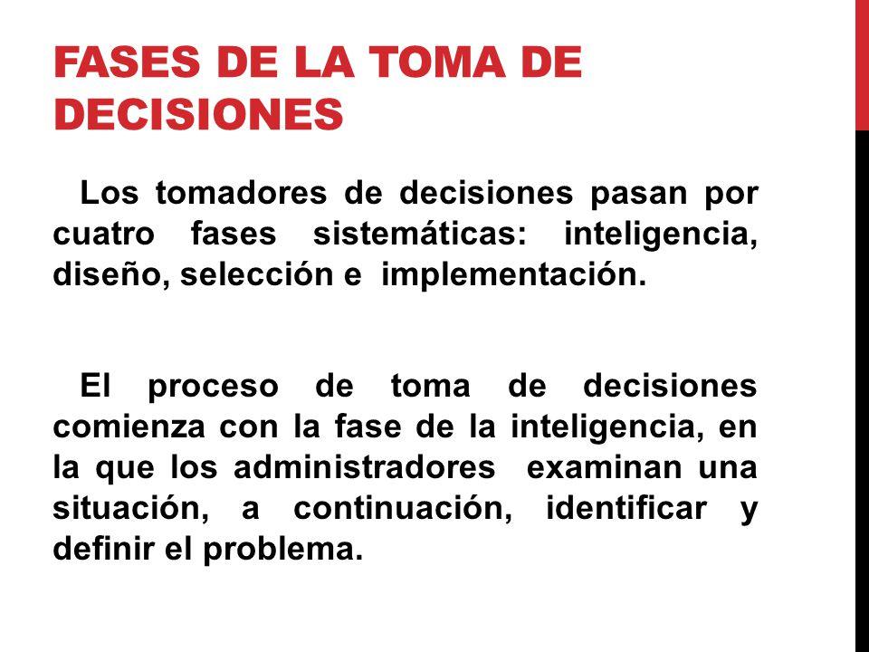 FASES DE LA TOMA DE DECISIONES Los tomadores de decisiones pasan por cuatro fases sistemáticas: inteligencia, diseño, selección e implementación. El p