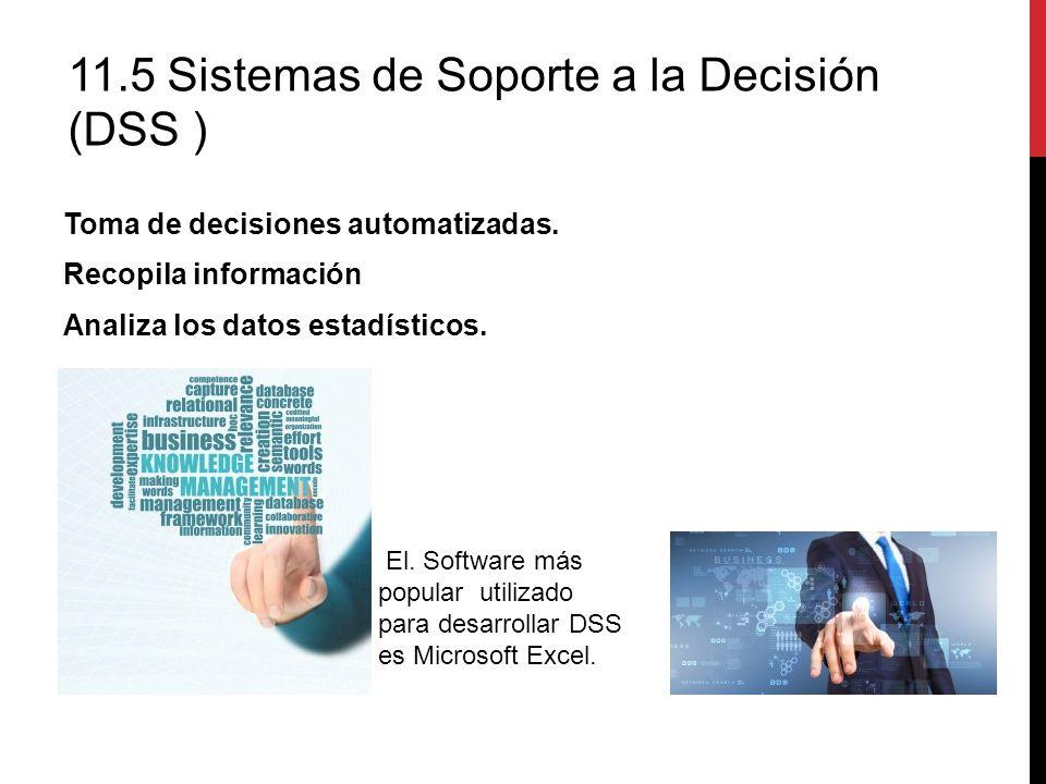 Toma de decisiones automatizadas. Recopila información Analiza los datos estadísticos. 11.5 Sistemas de Soporte a la Decisión (DSS ) El. Software más