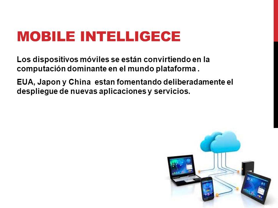 MOBILE INTELLIGECE Los dispositivos móviles se están convirtiendo en la computación dominante en el mundo plataforma. EUA, Japon y China estan fomenta