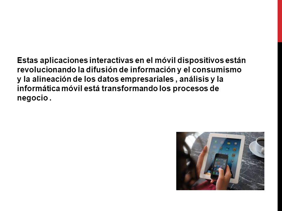 Estas aplicaciones interactivas en el móvil dispositivos están revolucionando la difusión de información y el consumismo y la alineación de los datos