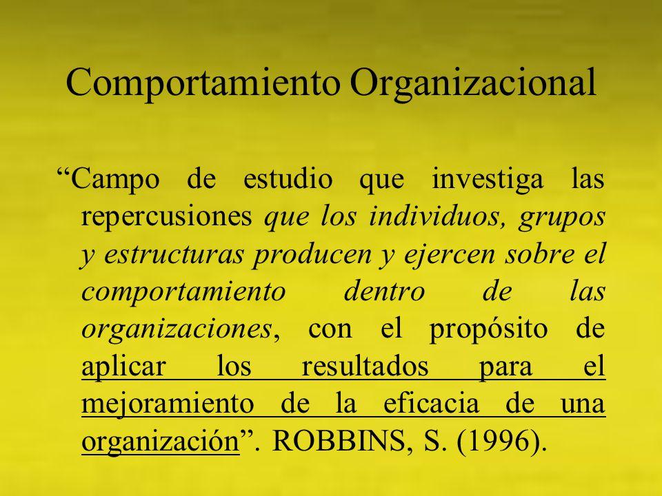 Comportamiento Organizacional Campo de estudio que investiga las repercusiones que los individuos, grupos y estructuras producen y ejercen sobre el co