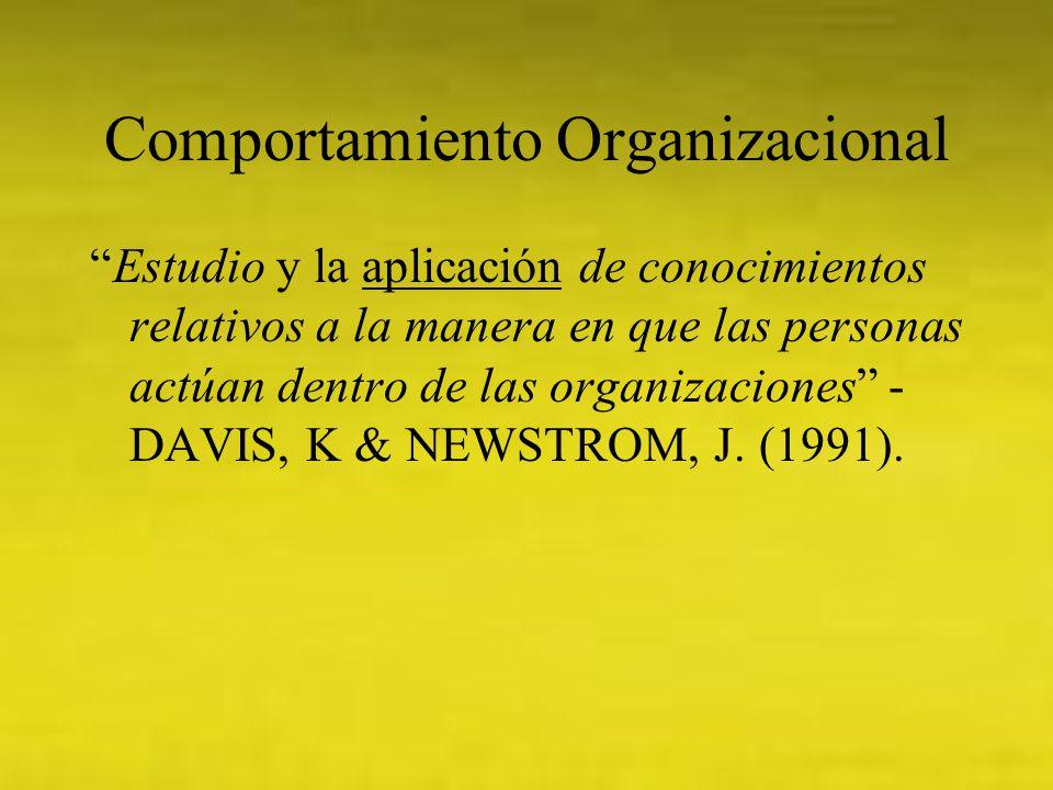 Comportamiento Organizacional Estudio y la aplicación de conocimientos relativos a la manera en que las personas actúan dentro de las organizaciones -