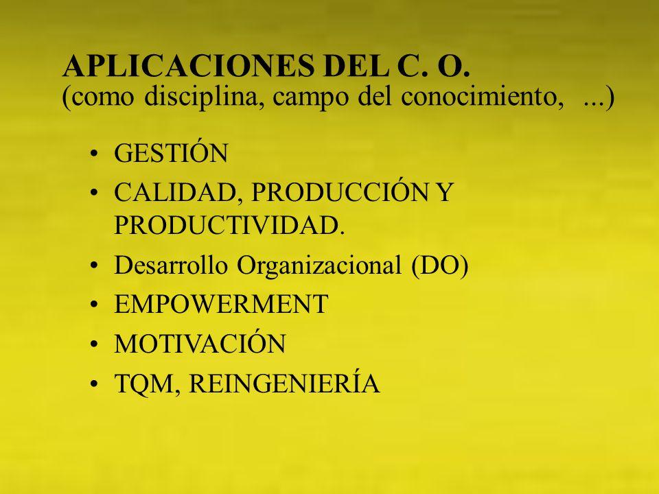 APLICACIONES DEL C. O. (como disciplina, campo del conocimiento,...) GESTIÓN CALIDAD, PRODUCCIÓN Y PRODUCTIVIDAD. Desarrollo Organizacional (DO) EMPOW