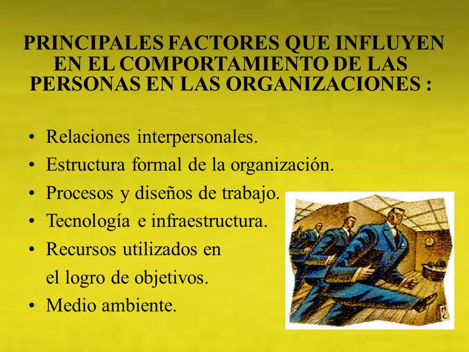 PRINCIPALES FACTORES QUE INFLUYEN EN EL COMPORTAMIENTO DE LAS PERSONAS EN LAS ORGANIZACIONES : Relaciones interpersonales. Estructura formal de la org