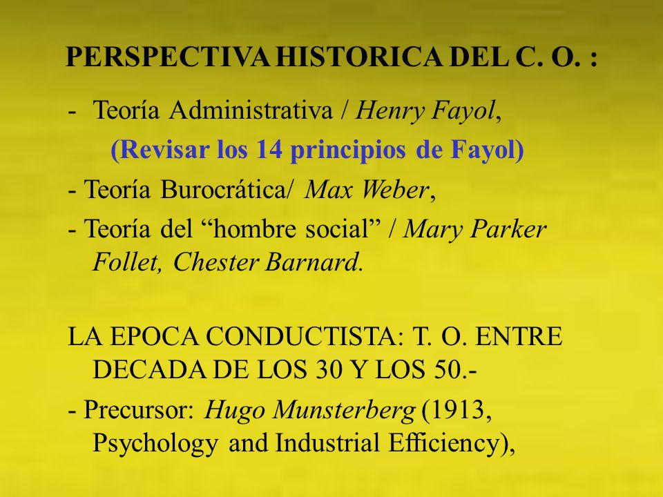 -Teoría Administrativa / Henry Fayol, (Revisar los 14 principios de Fayol) - Teoría Burocrática/ Max Weber, - Teoría del hombre social / Mary Parker F