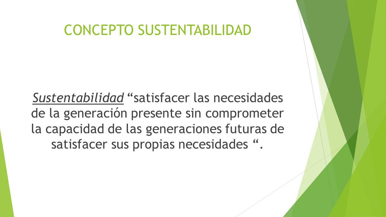 CONCEPTO SUSTENTABILIDAD Sustentabilidad satisfacer las necesidades de la generación presente sin comprometer la capacidad de las generaciones futuras de satisfacer sus propias necesidades.